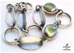 Nature Inspired Bracelet in Oxidized Sterling Silver and Prehnite, Handmade, Sleek Design Bracelet, Gift For a Friend.