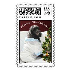 Blitzen Christmas Stamps#poodle#christmas tree#dog#Christmas