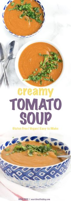 Creamy Tomato Soup | This healthy soup recipe is so easy to make and is loaded with lots of veggies. Thickened and made creamy with potatoes, this soup is a gluten free and vegan way to enjoy your veggies.