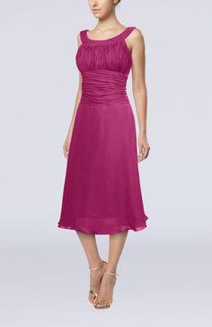 Dusty Rose Casual A-line Scoop Zipper Tea Length Bridesmaid Dresses or mother of bride - iFitDress.com