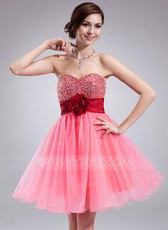 Empire Sweetheart Knee-Length Taffeta Tulle Homecoming Dress With Ruffle Sash Beading Flower(s) Sequins (022018663)