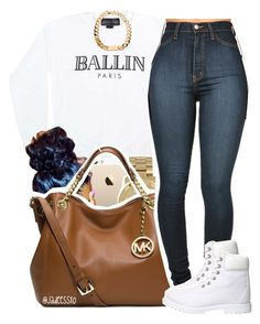 """white & gold."" by yeauxbriana ❤ liked on Polyvore featuring Alex and Chloe, Michael Kors and Timberland"