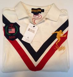 Ralph Lauren Rugby U.S.A. Kicker Patch White Polo Shirt L Large