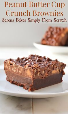Peanut Butter Cup Crunch Brownies | www.serenabakessimplyfromscratch.com