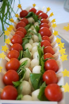 star food picks with petit caprese skewers -- photo stylist - Erica McNeish