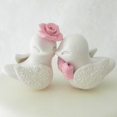 Love Birds Wedding Cake Topper Ivory and Blush Pink by LavaGifts $62.00 shipping $5.95