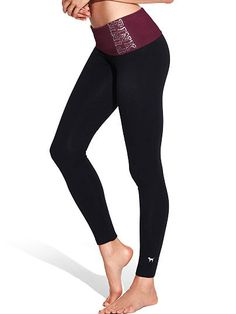 Foldover Waist Yoga Legging PINK in color russian ruby bling