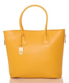 Love this Yellow Leather Two-Handle Tote by Federica Bassi on #zulily! #zulilyfinds 170.00