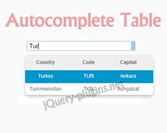 Autocomplete Table – An Autocomplete in the Form of Table  #jQuery #autocomplete #table #form #autosuggest #ff
