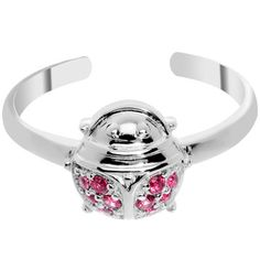 925 Sterling Silver Cubic Zirconia Ladybug Toe Ring | Body Candy Body Jewelry