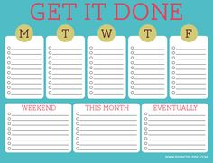 FREE Printable To-do List : I like how you can type in your to-do's then simply print it out for the week!