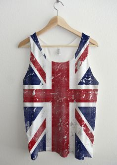 Dirty Vintage Union Jack British Flag Full Print Unisex Tank Top