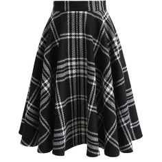 Chicwish Grid Journal Wool-blend A-line Skirt in Black (3.020 RUB) ❤ liked on Polyvore featuring skirts, black, floral print a-line skirt, print skirt, knee length a line skirt, a-line skirt and wool blend skirt