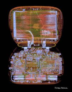 Laptop #1 by Satre Stuelke. This is a CT scan of a clamshell Apple iBook. Image available for purchase as a print, framed print, and canvas print.