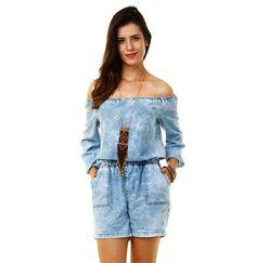 Macaquinho feminino em jeans modelo ciganinha