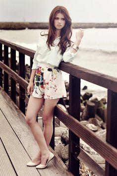Shop this look on Kaleidoscope (blouse, shorts, flats, bracelet)  http://kalei.do/WDwxe04tlkAuHAgo