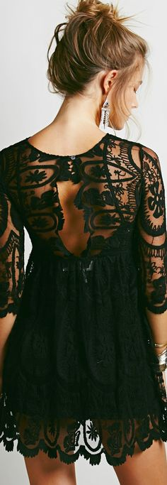 Black Lace 3/4 Sleeves Dress