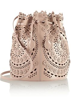 Alaïa | Laser-cut studded leather shoulder bag | NET-A-PORTER.COM