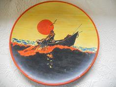 Early Catalina Island Pottery Plate by Leslie Granteer Fisherman Hauling in Net | eBay