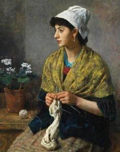 otto scholderer | Otto Scholderer (German Painter, 1834-1902) Woman Knitting - Pictify ...