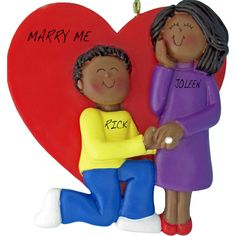 Marry Me Couple, Male African American/Female African American Personalized Ornament. This ornament and many more can be found at www.ornaments.com