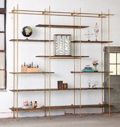 A large 3 bay Shelving unit with various knife-edge shelving. Shelving Design, Shelving Systems, Shelf Design, Office Interior Design, Office Interiors, Interior Decorating, Home Furniture, Furniture Design, Bookcase Shelves