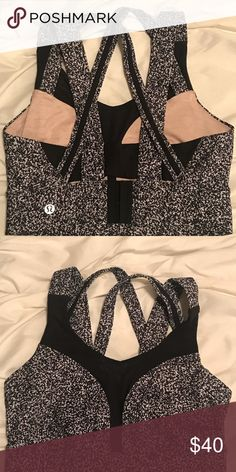 Lululemon Sports Bra Revolutionary bra to give you comfort, movement management, and a natural shape!  Condition: Used, Like New  Color: Black and White Patterned Size: 34D **Similar in style to the Enlite Bra*** lululemon athletica Intimates & Sleepwear Bras