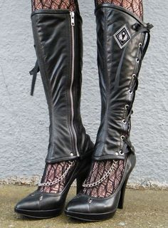 Side Lacing Leather Spats with Decorative Chain by EidoL on Etsy, $78.00