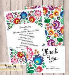 Floral Folk Fiesta Wedding Invitation Fiesta by TownleyDesigns