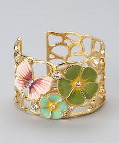 Green & Gold Flower Cuff