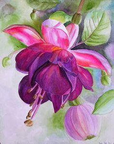 'Pink Fuschia' watercolor painting by Doris Joa.