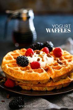 These easy Yogurt Waffles have a crisp exterior and are light and fluffy on the inside. Basically they're ready to become a breakfast favorite! Best Breakfast Recipes, Quick And Easy Breakfast, Savory Breakfast, Breakfast Ideas, Brunch Ideas, Breakfast Time, Yogurt Recipes, Waffle Recipes, Fun Desserts