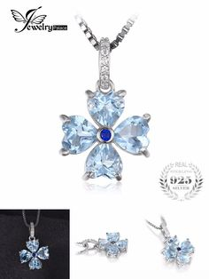 [Visit to Buy] JewelryPalace 2.2ct Heart-Shape Genuine Sky Blue Topaz Flower Pendant Necklace 925 Sterling Silver Pendant for Women Jewelry #Advertisement