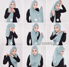 thinking of, hijab for office wear. Tutorial Hijab Pashmina, Square Hijab Tutorial, Simple Hijab Tutorial, Hijab Style Tutorial, Scarf Tutorial, Hijab Outfit, Girl Hijab, Hijab Dress, Turban Hijab