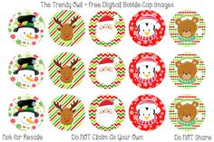"Christmas Faces 1"" Digital Bottle Cap Images"