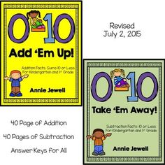 Addition and Subtraction Facts Worksheets for Kindergarten. Math Facts 0 – 10 Add 'Em Up! and Take 'Em Away? BUNDLE***Addition and Subtraction Facts***Kindergarten and 1st Grade***Build Math Fluency. Great for morning work, homework, math centers, independent work.***40 Pages of Addition Facts***40 Pages of Subtraction Facts ***Generic Clip Art for Use Anytime During the Year ***Includes Horizontal and Vertical Problems COMMON CORE: K.OA1, K.OA5, 1.OA6, 1.OA8. Answer Keys included.