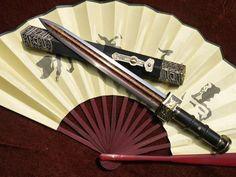 Dagger sword,Folded steel,Black wood scabbard,Alloy fitting,Length 13 inch