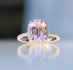 2.75ct Cushion raspberry peach champagne sapphire 14k rose gold diamond ring engagement | http://sapphirecollections.blogspot.com