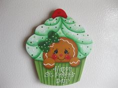HP Gingerbread St. Patty's Day cupcake ginger FRIDGE MAGNET hand painted wood in Crafts | eBay