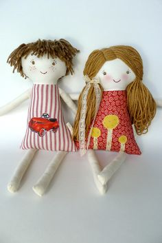 Brother Sister Set of 2 Custom Rag Dolls Cloth Doll by thebuslbarn
