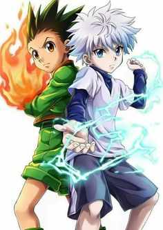 My two favorite characters from Hunter X Hunter, Gon (left), and Killua. Killua is an assassin by trade and Gon is just a really strong, really impressive little guy with a big heart Hunter, Pics, Killua, Hunter Anime, Hunter X Hunter, Anime, Pictures, Anime Characters, Manga