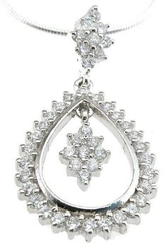Sterling Silver CZ Brilliant Fashion Pendant Necklace for Women
