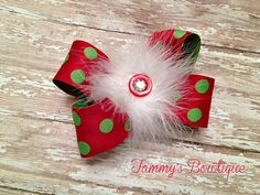 Christmas Polka Dot Hairbow Marabou Puff Red and by TammysBowtique, $5.00