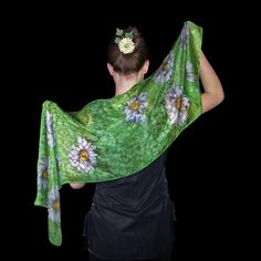 Greenery silk scarf green floral scarf Hand painted by SilkaShop