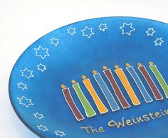 Hanukkah personalized hand painted glass plate