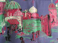 1950's novelty print fabric / 50s vintage Arabian by vintagewise
