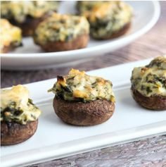 Spinach Artichoke Dip Stuffed Mushrooms [RECIPE]