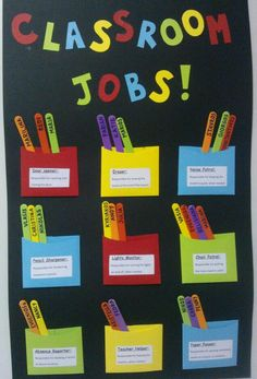 "Classroom Jobs-Teaching the meaning of ""responsibility"" by putting it straight into practice! Students keep their jobs for a week and then they`re ""hired"" for another position! Totally works for the teacher and kids are loving it too! JOBS: Door Opener, Eraser, Noise Patrol, Pencil Sharpener, Lights Monitor, Chair Patrol, Absence Reporter, Teacher Helper, Paper Passer"