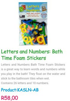 For orders, contact me @ www.acornkids.com/learningfun  janavdmerwe8@gmail.com