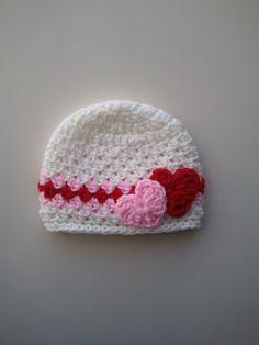 Valentine's Day Crochet Hat Baby Valentine's Day Hat por Hats4Brats